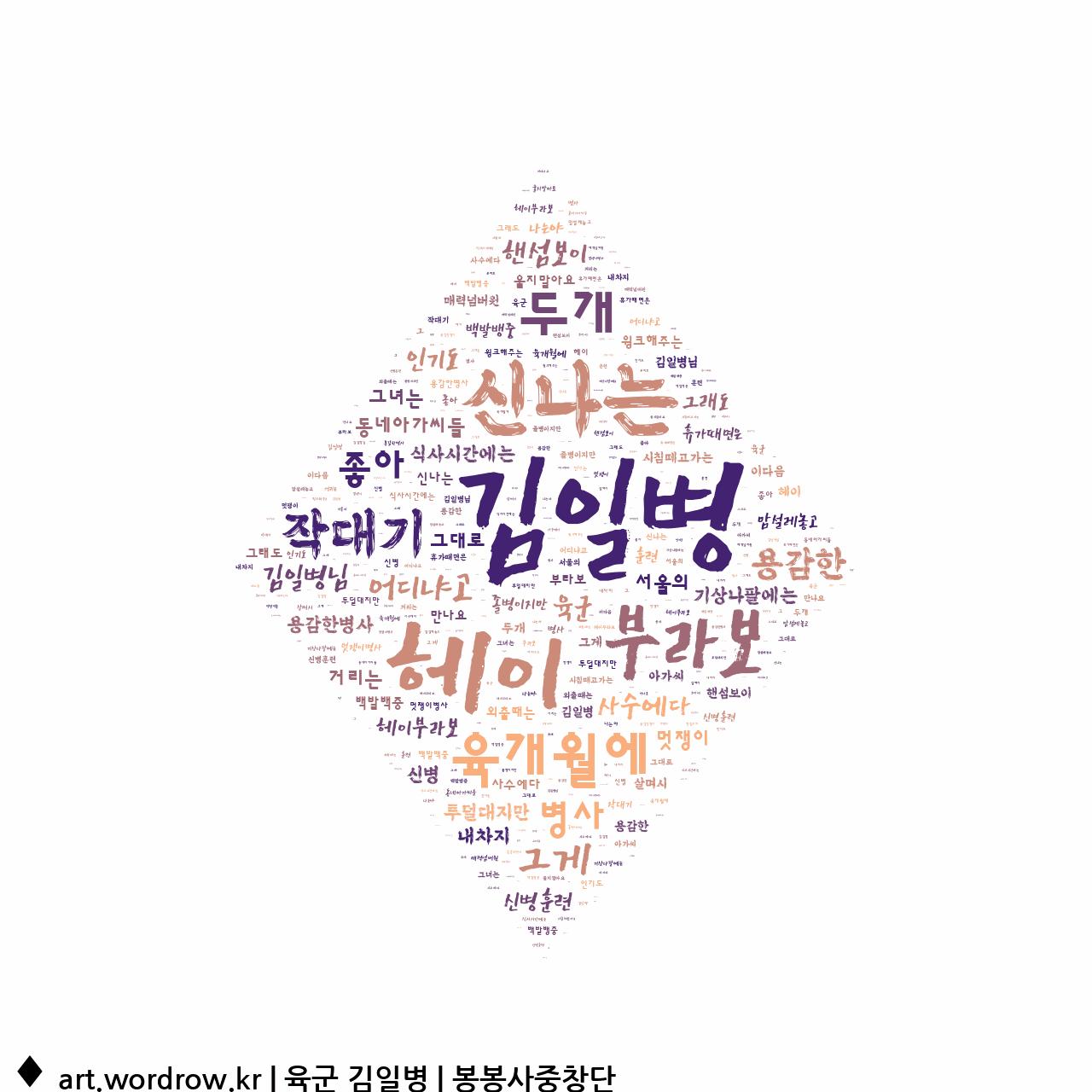 워드 클라우드: 육군 김일병 [봉봉사중창단]-7